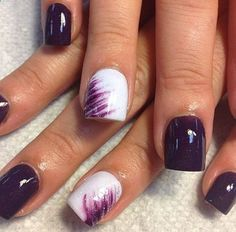 Trendy Purple Nail Art Designs You Have to See Dark Purple and White Design for Short Nails.Dark Purple and White Design for Short Nails. Get Nails, Fancy Nails, Love Nails, How To Do Nails, Pretty Nails, Gorgeous Nails, Sparkle Nails, Acrylic Nail Designs, Nail Art Designs