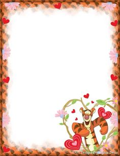 """""""Tell A Story"""": Tigger """"So In Love"""" from """"Winnie the Pooh"""", as courtesy of Walt Disney Free Printable Stationery, Printable Paper, Stationery Templates, Stationery Paper, Borders For Paper, Borders And Frames, Scrapbook Frames, Scrapbook Paper, Disney Writing"""