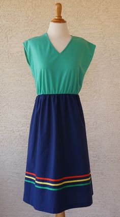 Vintage Green and Blue Dress Size M by CeeLostInTime on Etsy