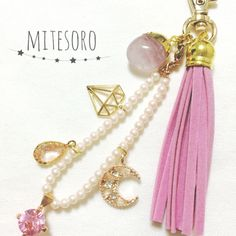 Natural stone bag Charm ♡ Love of Power Stone ♡ Rose Quartz ♡ Keychain