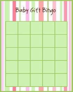 Baby Shower Gift Bingo.. perfect colors!