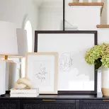 Woven Drawer Console Table Black - Threshold™ Designed With Studio McGee : Target Frames On Wall, Framed Wall Art, Wall Art Decor, Window Glazing, Studio Mcgee, White Table Lamp, White Backdrop, Inspired Homes, Console Table