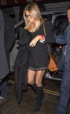 Classic Jen! The Office Christmas Party actress opts to wear an all black outfit for her BBC One appearance in London.