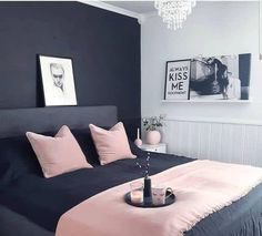 Fantastic small bedroom design ideas - It's great textures, sensible furnishings option, and also not an unimportant amount of resourcefulness. Right here are 25 motivating small bedroom ideas to attempt. Dream Rooms, Dream Bedroom, Home Bedroom, Bedroom Black, Charcoal Bedroom, Grey Bedroom Walls, Pink Master Bedroom, Dark Grey Bedding, Bedroom 2018