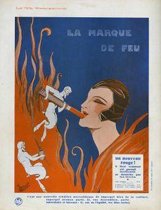 """Rouge à lèvres """"La marque de feu"""" La Vie Parisienne 1910s G Léonnec"""