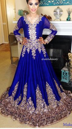 Arabic Blue Chiffon Evening Dresses Long Sleeve with Gold Lace Appliques 2015 Sweep Train Amazing Prom Dresses Formal Gowns Indian Wedding Outfits, Pakistani Outfits, Bridal Outfits, Indian Outfits, Bridal Dresses, Prom Dresses, Pakistani Bridal, Bridal Lehenga, Tela Hindu