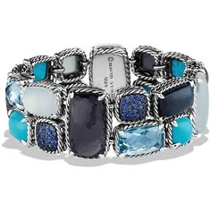 David Yurman Mosaic Bracelet with Black Orchid and Turquoise ($5,700) ❤ liked on Polyvore featuring jewelry, bracelets, cabochon jewelry, imitation jewelry, turquoise jewelry, turquoise jewellery and mosaic jewelry