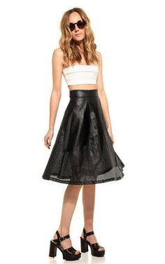 Faux Leather Mesh Skirt - SilkFred