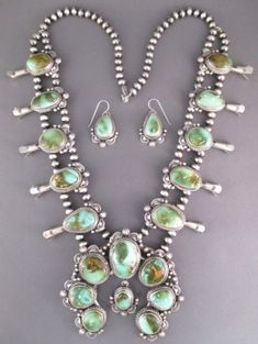 Navajo-Natural-Royston-Turquoise-SQUASH-BLOSSOM-NECKLACE-Earring-Set-T-Francisco