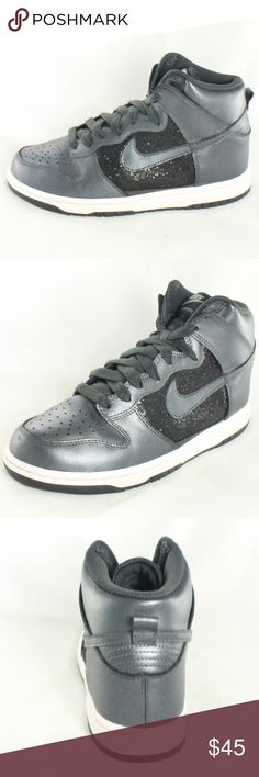 NIKE Dunk High 6.0 Black White Gray Sparkle Shoes