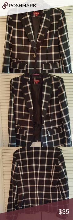 Ladies Plaid Blazer by Merona. Size 6. Brand New Brand new Ladies Blazer from Merona. Black & White Plaid pattern, size 6 ladies. Fully lined Merona Jackets & Coats Blazers