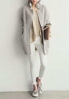 Grey Oversized Coat - Unlined Chunky Coat - comfy / funky / chic all in one~!