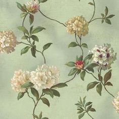 Dining room? -> Inspired By Color�Green Beige and White Peelable Prepasted Classic Wallpaper