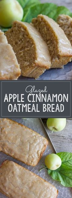 """Glazed Apple Cinnamon Oatmeal Bread - Lovely Little Kitchen - Soft and moist, and bursting with apple flavor. No mixer required! """" Soft and moist, and bursting - Apple Cinnamon Oatmeal, Oatmeal Bread, Oatmeal Yogurt, Baked Oatmeal, Apple Oatmeal Muffins, Cinnamon Apples, Oatmeal Biscuits, Apple Cinnamon Cake, Cinnamon Biscuits"""