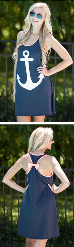 Anchor and Bow Dress Navy