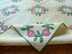 Antique Rose of Sharon Quilt Beautifully Stitched | eBay