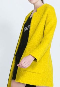 Yellow Long Sleeve Zipper Pockets Coat pictures