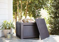 Oh, put a lid on it. Your Rubbermaid storage cube, we mean. Now your deck or patio is clutter-free!