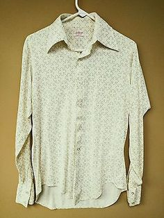 VINTAGE 70's Long Sleeve Button Front Disco Shirt with Pointed Collars Yellow