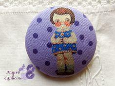 Fabric button, printed doll de la boutique Mauveetcapucine sur Etsy