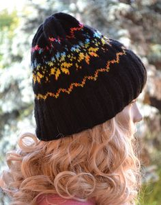Black and rainbow  cap  hat lovely warm by DosiakStyle on Etsy