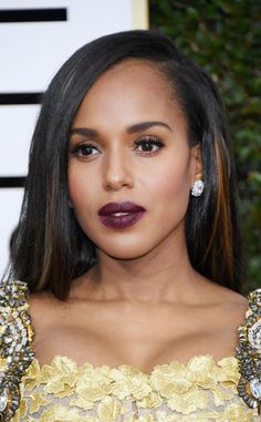 Kerry Washington from 2017 Golden Globes' Best Beauty Looks  Midnight plum everything (lips, eyes and cheeks) is a classic look that will never come up short.