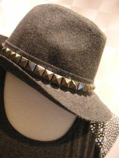 9e21fec4e7102 grey studded felt fedora. Fedora Hat