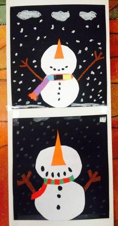 Schneemänner aus Tonkarton Klasse 3: