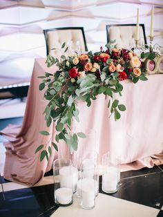 Wedding Colors Red Head Tables Ideas For 2019 Wedding Table Garland, Wedding Table Setup, Wedding Table Decorations, Wedding Centerpieces, Bridal Table, Red Wedding, Floral Wedding, Wedding Colors, Wedding Flowers