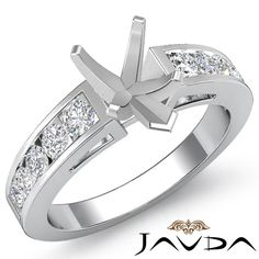 Channel Set Diamond Engagement Ring 14k White Gold Pear Shape Semi Mount 0 75ct | eBay