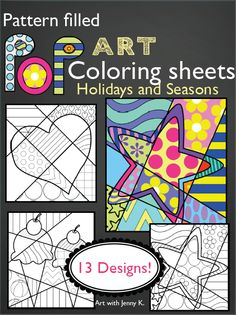 """These pattern-filled """"Pop Art"""" coloring pages are pulled directly from my popular Interactive Pop Art Coloring Book. If your students are too young, too busy, or unable to add the patterns to the Pop Art designs themselves, then this is just the product for you!"""