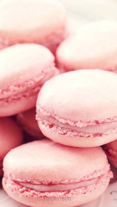 A crispy pink macaron with foamy strawberry frosting in the middle. A delightful dessert. Macarons Rose, Pink Macaroons, Macaroon Cookies, Pink Love, Pretty In Pink, Perfect Pink, Pink Wallpaper, Iphone Wallpaper, Trendy Wallpaper