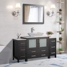 Bathroom Vanities - Walmart.com White Vanity Bathroom, Single Sink Bathroom Vanity, Bathroom Vanity Cabinets, Vanity Set, Bathroom Vanities, Bathroom Light Fixtures, Bathroom Lighting, Black Basket, Pebble Grey