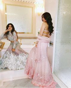 The world recently saw the Kapoor brothers Boney, Anil and Sanjay's sister's son, Akshay Marwah's wedding. Dress Indian Style, Indian Fashion Dresses, Indian Gowns, Indian Designer Outfits, Indian Attire, Indian Ethnic Wear, Pakistani Dresses, Designer Dresses, Pakistani Suits