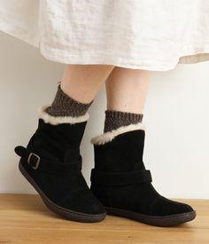 ムートン調ショートブーツ(A・ブラック)