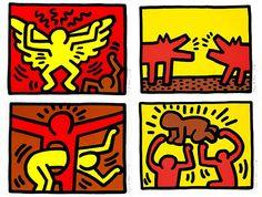 Keith Haring(1958-1990) Pop Shop IV - Complete Suite Series of 4 Screen Prints  1989 www.denisbloch.com