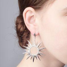 Starburst Statement Earring - Rhodium