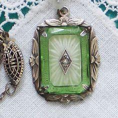 Vintage Antique Sterling CAMPHOR GREEN GLASS PENDANT