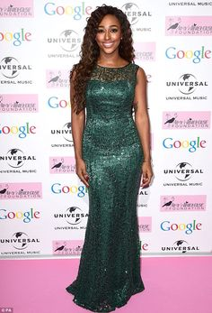 Green goddess: Alexandra wore a sparkling emerald green floor length gown to attend the st. Alexandra Burke, Cheryl Fernandez Versini, Floor Length Gown, Green Goddess, Red Carpet, Celebrity Style, Take That, Gowns, Female