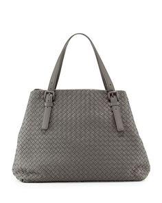 Large A-Shape Tote Bag, Gray by Bottega Veneta at Bergdorf Goodman.