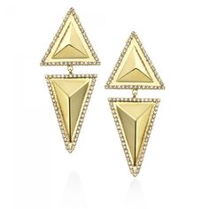 Matte Gold and Crystal Triangle Earring from JANIS SAVITT