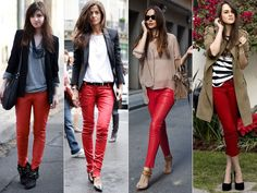 The shoe options are endless when you wear red skinnies, uber chic.