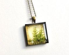 Herbarium. 'Hylocomium splendens' resin pendant