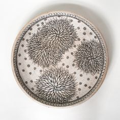 "Michelle Quan, Night Sky platter, wheel thrown and hand painted stoneware, 13"" d"