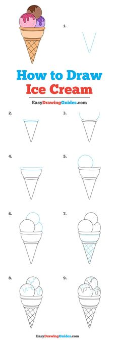 How to Draw Ice Cream – Really Easy Drawing Tutorial Learn How to Draw Ice Cream: Easy Step-by-Step Drawing Tutorial for Kids and Beginners. See the full tutorial at easydrawingguides…. Easy Drawing Tutorial, Easy Drawing Steps, Step By Step Drawing, Very Easy Drawing, Easy Pencil Drawings, Easy People Drawings, Easy Drawings For Kids, Doodle Drawings, Drawing People