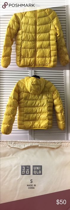 Uniqlo Ultra Lightweight Down Parka perfect condition, size small, color is yellow, **does not come with the pouch Uniqlo Jackets & Coats