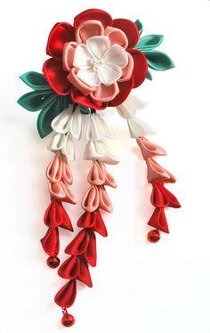 Love's Wings. Red and Pink Peony Tsumami Kanzashi. by hanatsukuri.deviantart.com on @deviantART