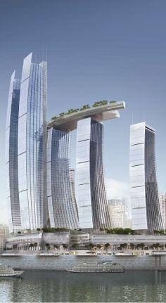Chongqing Chaotiamen Tower, Raffles City, Chongqing, China by Moshe Safdie and Associates Architects :: 78 floors, height 347m