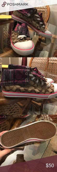 EUC Coach shoes! EUC! Multi colored authentic Coach sneakers! 👟Barely worn. Size 10 Coach Shoes Sneakers