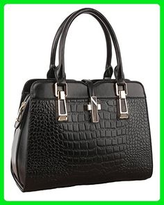 87f7c1af5517 ILISHOP Hot Sale Women's Genuine Leather New Office Lady Casual Vintage  Crocodile Top Handle Tote Shoulder Crossbody Bag Satchel Purse Handbag  (Black)